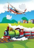 The locomotive and the flying machine - illustration for the children Royalty Free Stock Images
