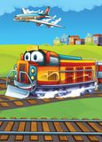 The locomotive and the flying machine - illustration for the children Stock Photography