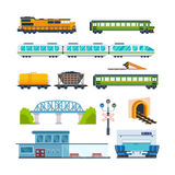 Locomotive, freight car and passenger car, railway station, train interior. Stock Photos