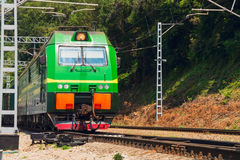 The locomotive of a freight train Stock Photo