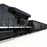 Locomotive and freight wagon on white. 3D illustration Stock Photo