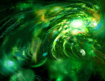 Locomotive galaxy. Green space very showy Royalty Free Stock Images