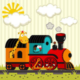Locomotive with a giraffe and a bird Royalty Free Stock Image