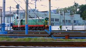 Locomotive goes on rails. stock footage
