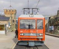 Locomotive of a Gornergrat Railway train. Gornegrat, Switzerland - September 16, 2018: the locomotive of a Gornergrat Railway train standing at the Gornergrat stock photo