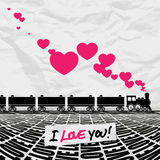 Locomotive and hearts. Royalty Free Stock Photo