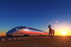 The locomotive and horse Stock Image