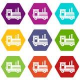 Locomotive icon set color hexahedron. Locomotive icon set many color hexahedron isolated on white vector illustration Stock Photo