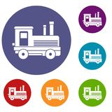 Locomotive icons set. In flat circle reb, blue and green color for web Royalty Free Stock Images