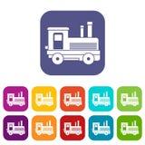 Locomotive icons set Royalty Free Stock Images