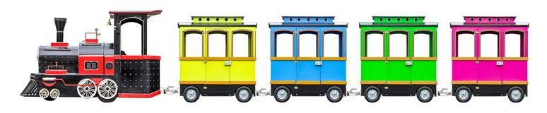 Locomotive for kids with wagons. Children train with wheels. Isolated royalty free stock photo