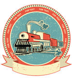Locomotive label.Vintage style on old texture Royalty Free Stock Photo