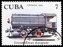 Locomotive 0-4-0, Locomotives serie, circa 1980. MOSCOW, RUSSIA - MARCH 23, 2019: Postage stamp printed in Cuba shows Locomotive 0-4-0, Locomotives serie, circa stock photo