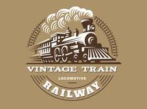 Locomotive logo illustration, vintage style emblem. Design Royalty Free Stock Photos