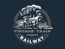 Locomotive logo illustration, vintage style emblem Stock Photography