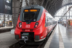 Locomotive in the main train station in Frankfurt Stock Photos