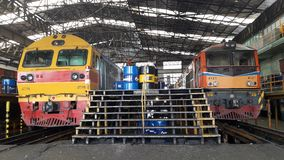Locomotive maintenance. Bangsue workshop is a biggest for maintenance of Thailand railway. Locate at Bangkok Stock Images