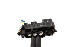 Locomotive monument  in Shepetovka Stock Photos
