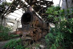 Locomotive morte de train, Tripoli, Liban photos libres de droits