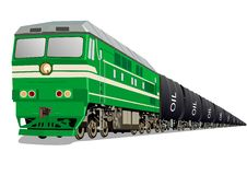 Locomotive with oil. Tankers to transport petroleum products vector illustration