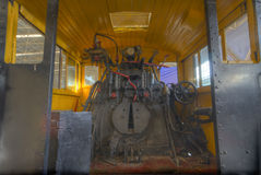Locomotive. An old steam powered locomotive internal close-up photos, hdr shooting Royalty Free Stock Photo