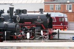 Locomotive open-air museum in Saint-Petersburg, Russia. Steam and fuel locomotive open-air museum in Saint-Petersburg, Russia on the Warshawskaya railway station Royalty Free Stock Image