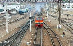 Locomotive of passenger train Stock Photography