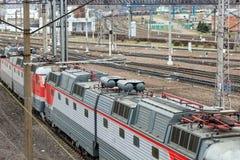 Locomotive of passenger train Royalty Free Stock Images
