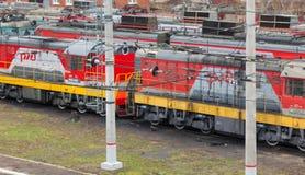 Locomotive of passenger train stock photos