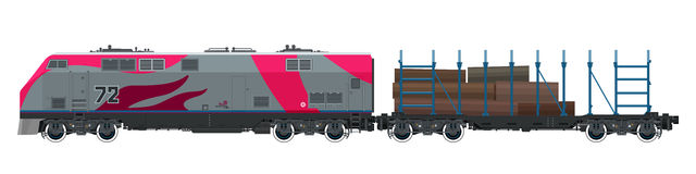 Locomotive with Platform for Timber Transportation Stock Photo