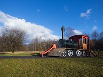 Locomotive on playground. In city Most, Czech Republic Stock Photos