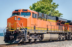 Locomotive. Powerful diesel locomotive and clear sky stock photo