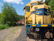 Locomotive and railroad cars Stock Photo