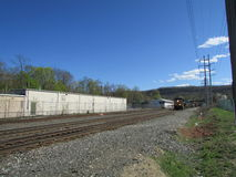 Locomotive with railroad cars in West Haverstraw, NY. Stock Photo