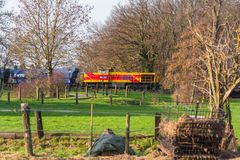 Locomotive at the railroad crossing in Ratingen Stock Image