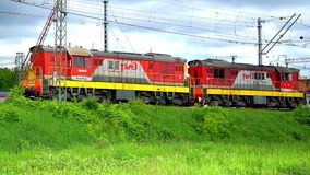 The locomotive is on the railroad. The locomotive is on the rail and misses the train stock footage