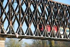 Locomotive on railway bridge Stock Images