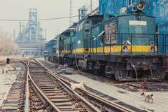 The locomotive and railway Stock Photography