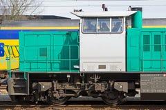 Locomotive at railway station Stock Photos