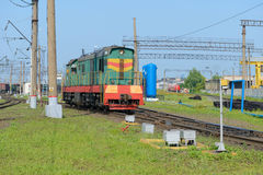 locomotive at a railway station Stock Photography