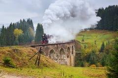 Locomotive rare de train de vapeur passant au-dessus du vieux viaduc dans les montagnes Photo libre de droits