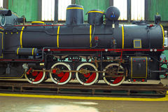 Locomotive. Restored steam locomotive in the factory, photography Royalty Free Stock Images