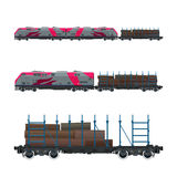 Locomotive rose avec la plate-forme ferroviaire Image stock