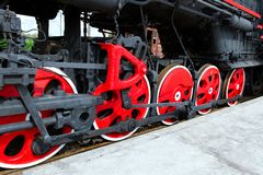 Locomotive`s wheels. Royalty Free Stock Image