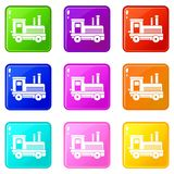 Locomotive set 9. Locomotive icons of 9 color set isolated vector illustration Stock Image
