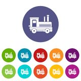 Locomotive set icons. In different colors isolated on white background Royalty Free Stock Images