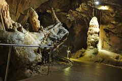The Locomotive stalactite geological attraction in Baradla cave in Aggtelek, Hungary stock photos
