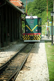 Locomotive in station. Old locomotive in train station Stock Photography