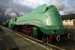 Locomotive Steam. Polish steam train departs station Stock Photography
