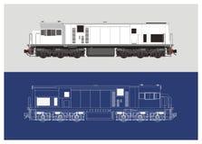 Locomotive technical drawing illustration 2 Royalty Free Stock Photo
